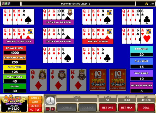 10 play video poker machine free
