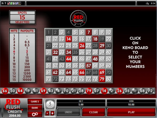 play Keno at Red Flush Casino