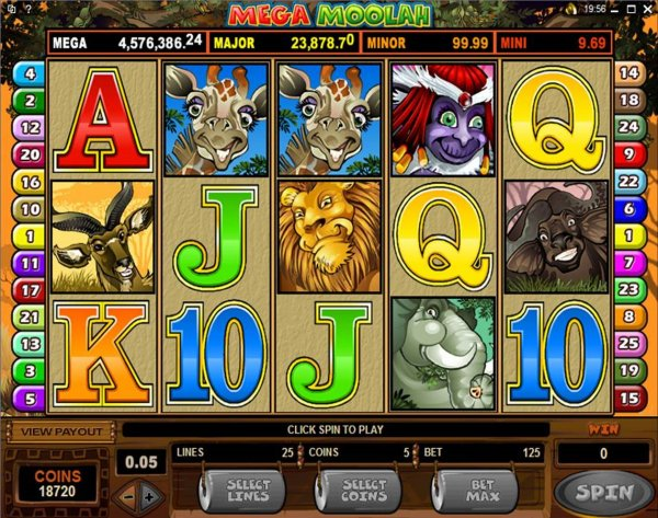 Mega Moolah Progressive Video Slot
